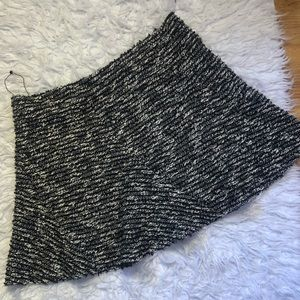 Zara Woman tweed frayed metallic flared skirt